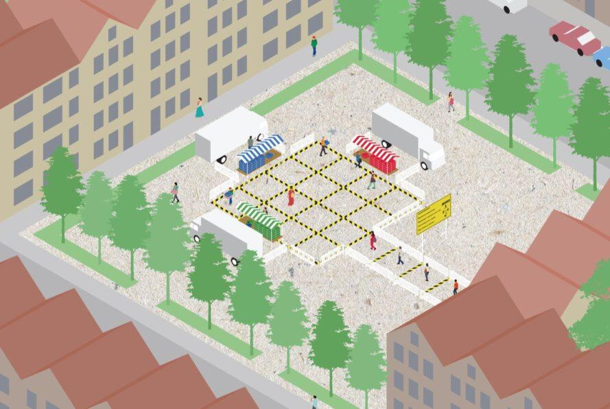rendering of open-air market with grid layout