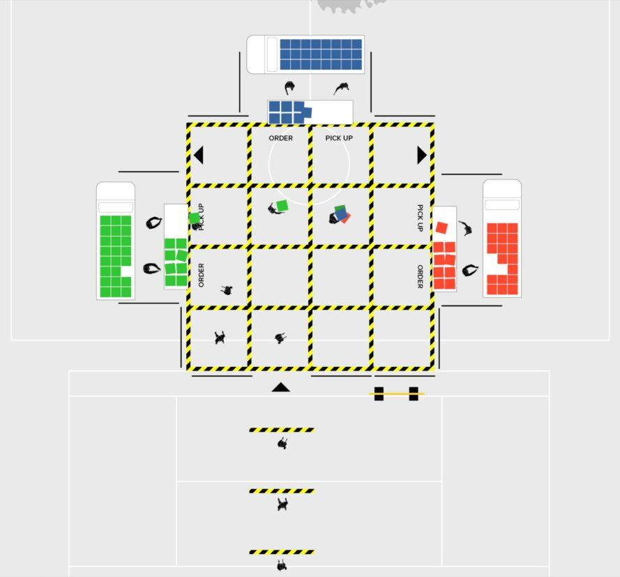 diagram of several stalls and a grid layout for a market