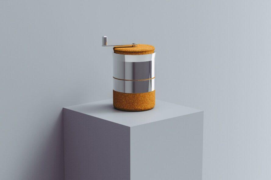 Coffee grinder with cork handle and base