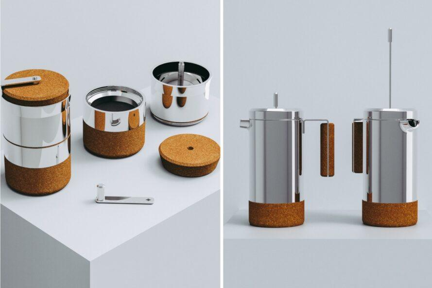 silver coffee makers with cork bases