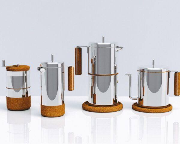 display of silver coffee pots with cork handles and bases