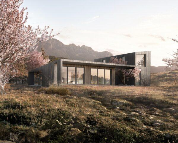 rendering of wood home with several glass windows in front of mountainous landscape