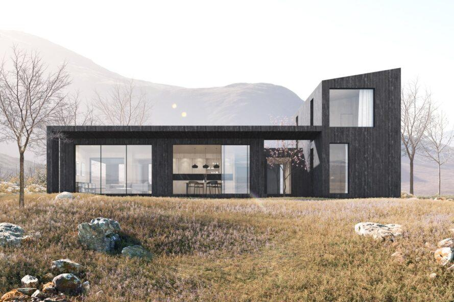 rendering of dark wood home with full-height windows and sliding glass doors