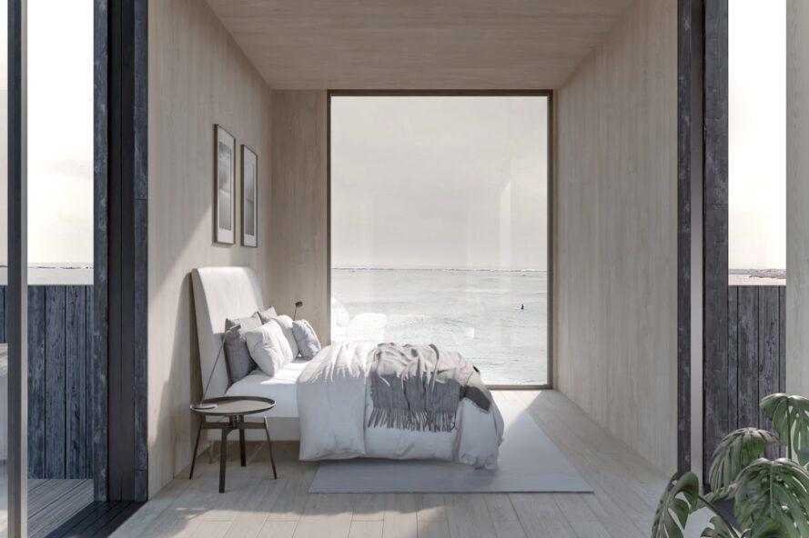 rendering of modern bedroom with large floor-to-ceiling window and a white and gray bed