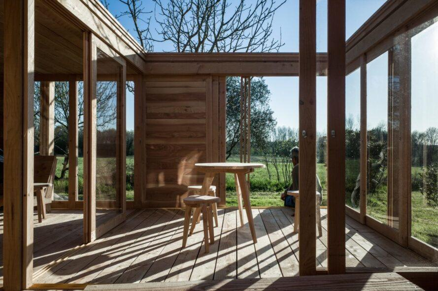 interior wood courtyard of tiny home