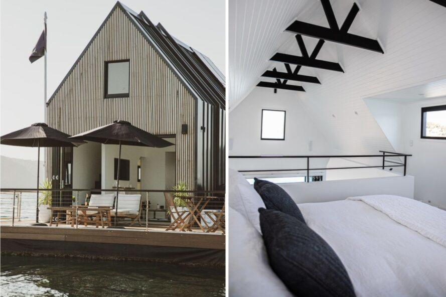 two images: one of front of floating home with deck and the second image of a white bedroom with dark wood ceiling beams