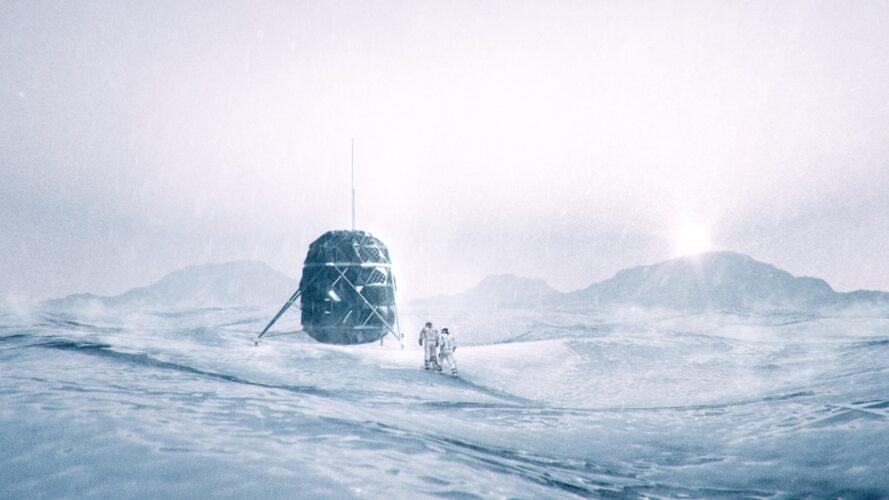 rendering of elevated pod covered in solar panels and sitting on stilts in a desolate landscape