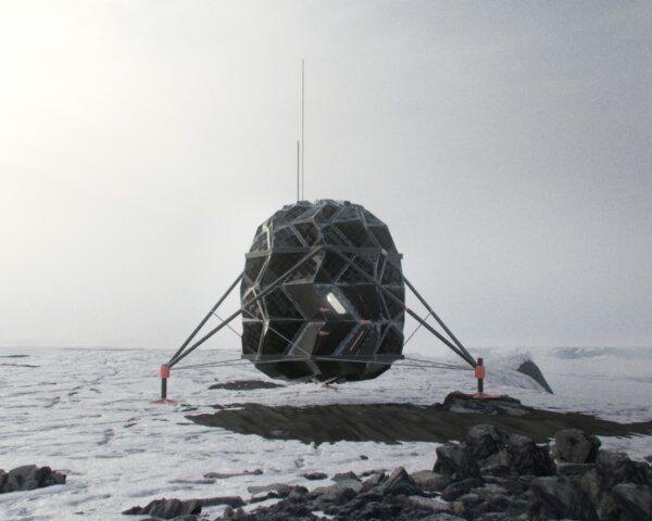 rendering of elevated pod on stilts in a desolate landscape