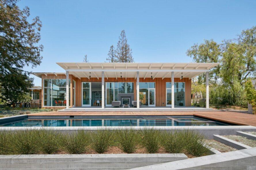 large elongated home with columns
