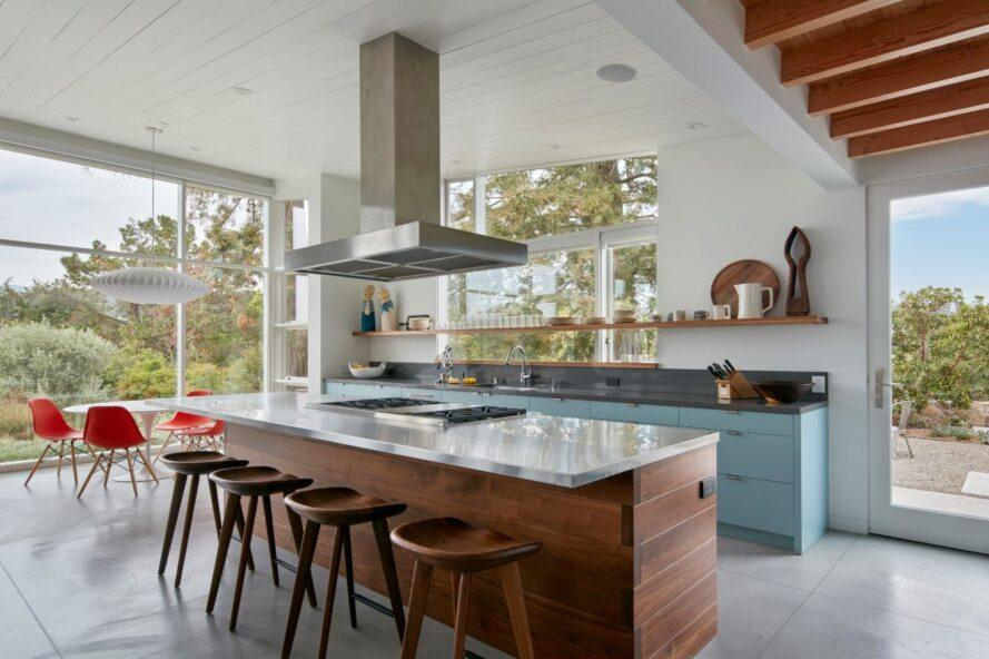 open kitchen with large island with seating