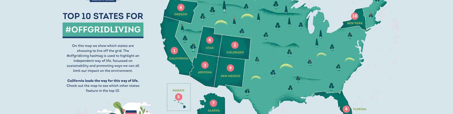 a map of the top 10 states for off-grid living