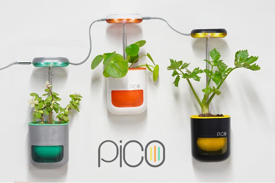 three wall mounted PICO pods. from left to right, the pod colors are blue and silver, white and orange, and black and yellow