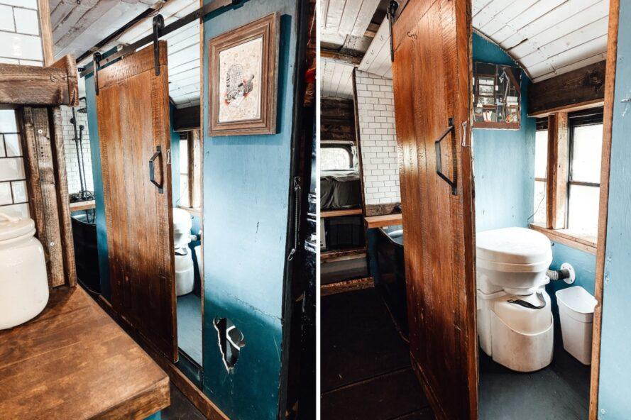 small bathroom with wooden panels and composting toilet