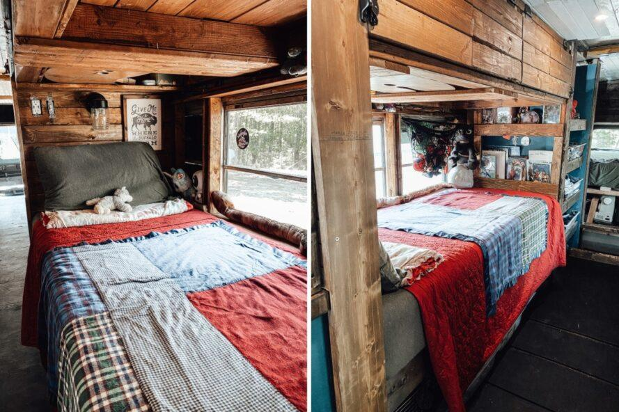 a small bed with red and gray blankets