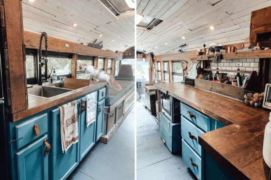 two images of a kitchen space with blue cabinets and butcher block counters