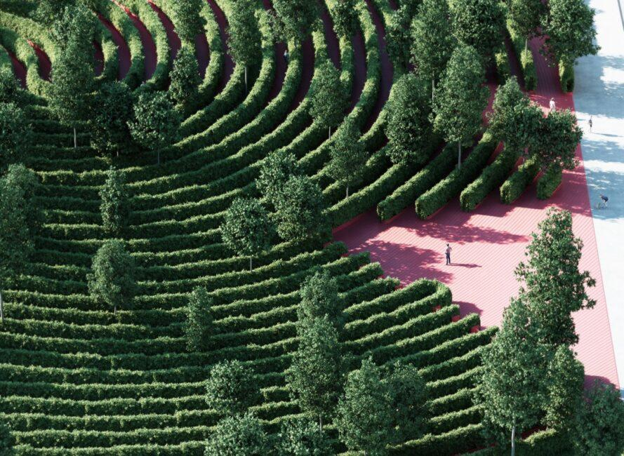 aerial rendering of person entering a park full of tall hedges