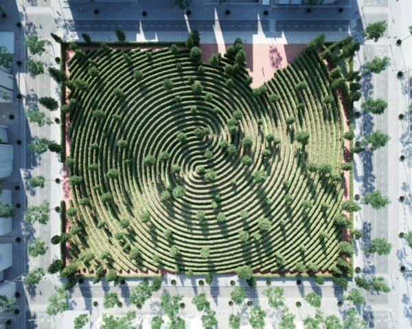 aerial view of park with hedges arranged like a fingerprint
