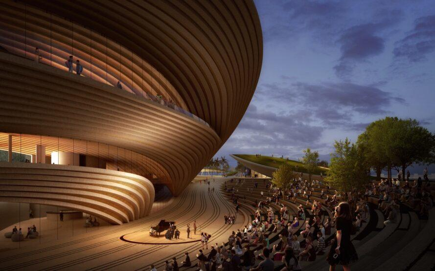 rendering of people in open-air auditorium near large curving building