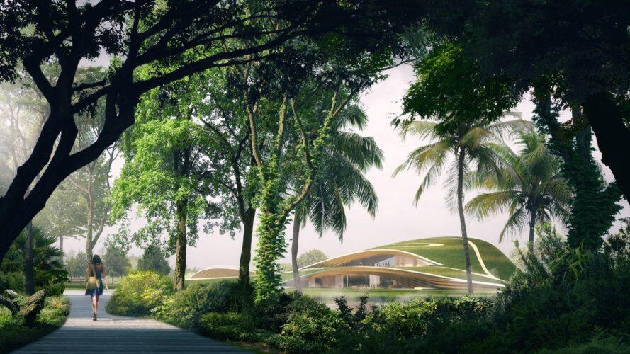 rendering of grass-covered dome building surrounded by trees