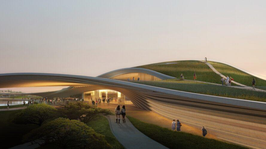 rendering of people walking along paths near a green-roofed dome building