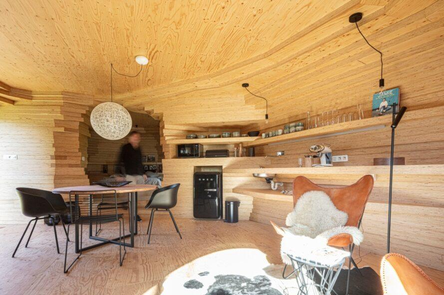 compact interior space clad in blond timber
