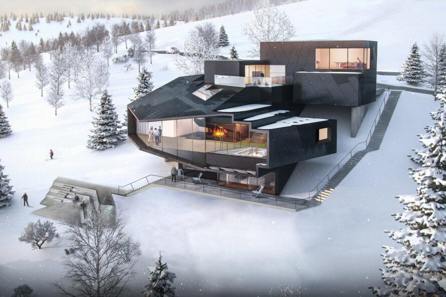 rendering of large black chalet with several glass panels revealing fireplaces inside