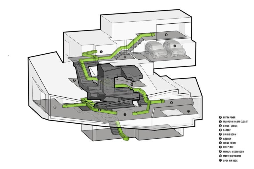 3D diagram of chalet filled with greenery