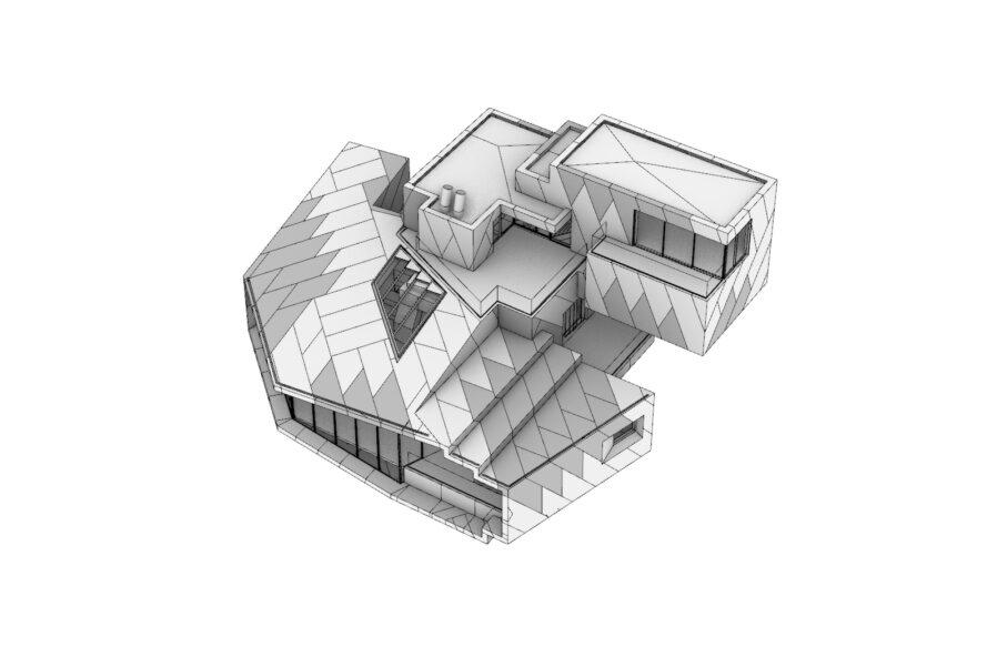 3D diagram of stepped exterior of a chalet