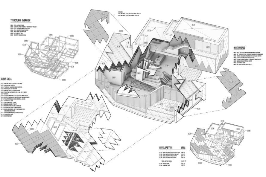 3D diagram of different rooms and components of a massive chalet