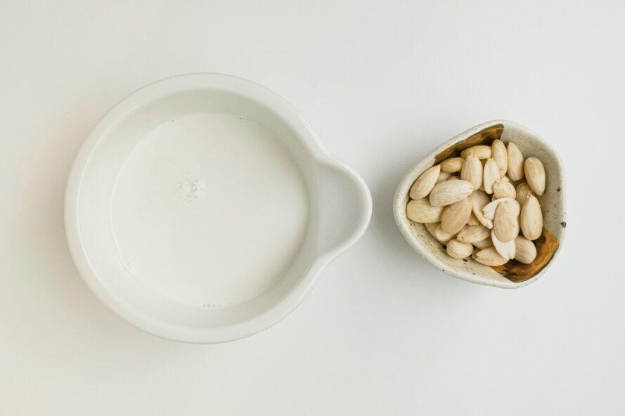 small dish of milk alternative and small dish of nuts
