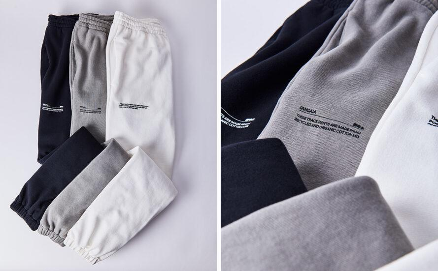 folded gray, black and white sweatpants