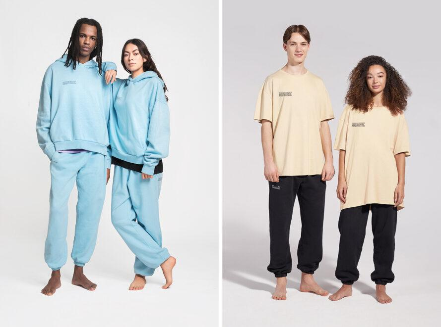 Two people in light blue tracksuits and two people in off-white T-shirts and black sweatpants