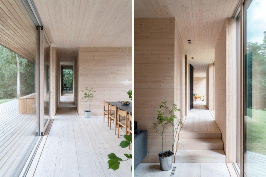 light wood-lined home with few wood furnishings and plants