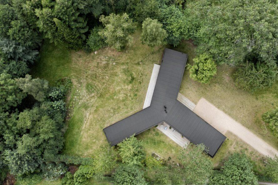 aerial view of windmill-shaped home