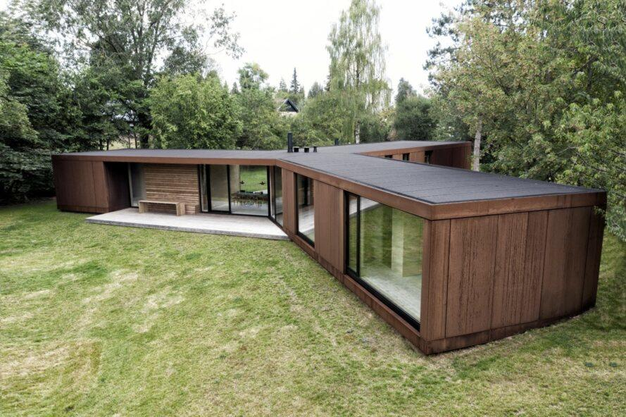 one-story home with CLT siding