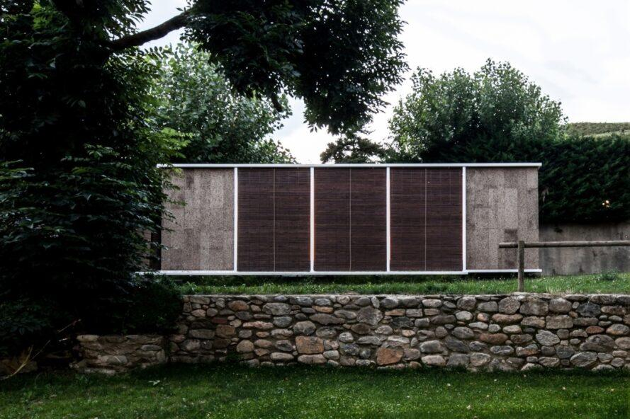 horizontal cabin clad in cork