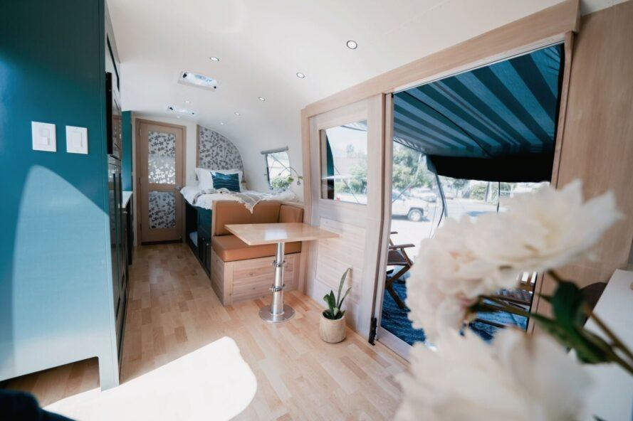 small dinette set inside an Airstream