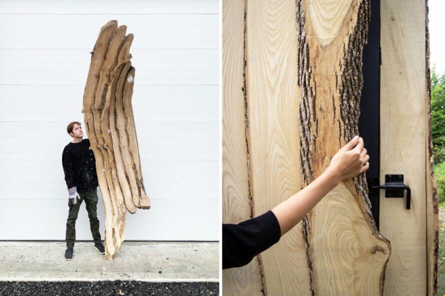 two images: man standing with planks of wood and woman touching cabin exterior