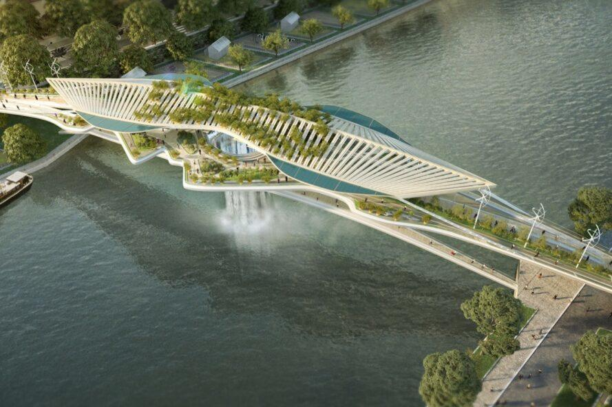 aerial rendering of a bridge with a plant-covered canopy and a waterfall feature in the middle of the bridge