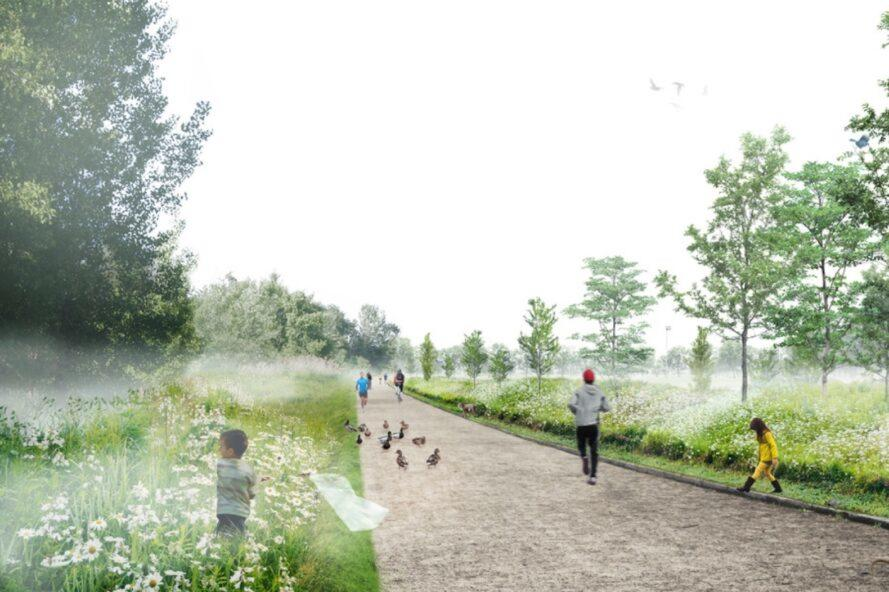 rendering of people and ducks walking on a path