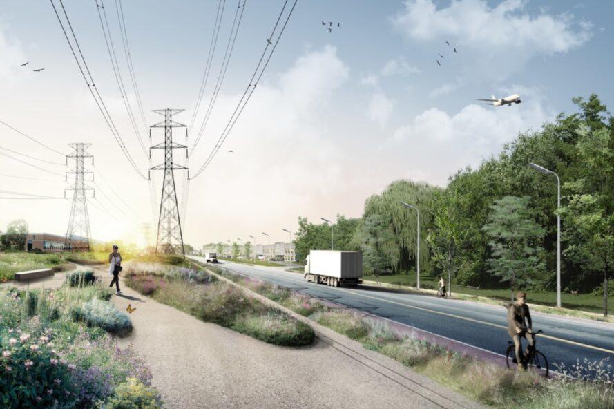 rendering of lush bike path beneath power lines