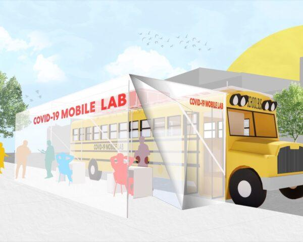 rendering of school bus with clear protective canopy attached to the side of the bus