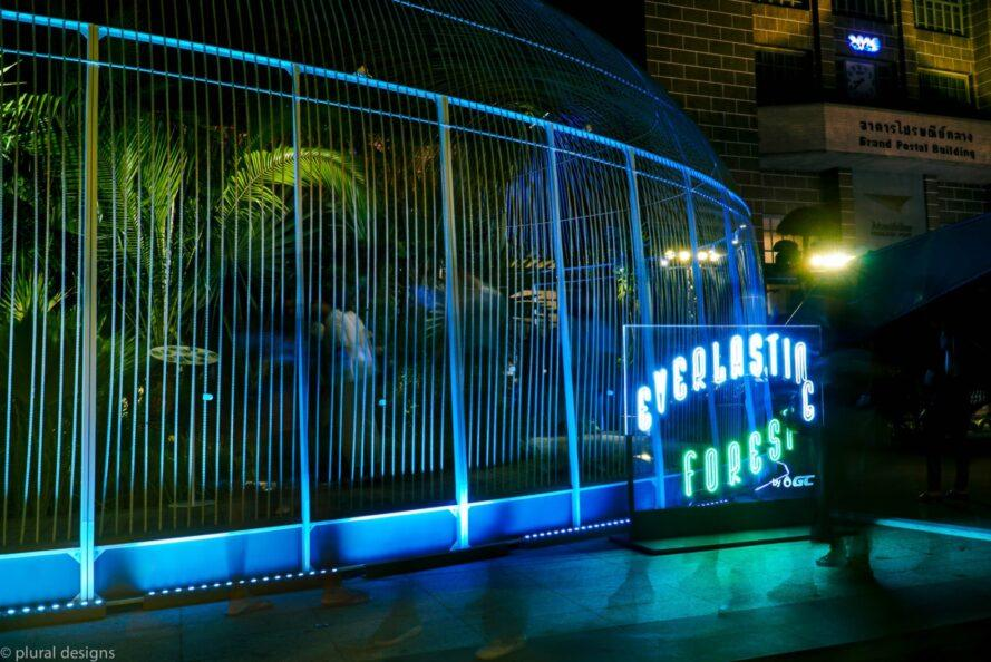 clear pavilion with neon light sign