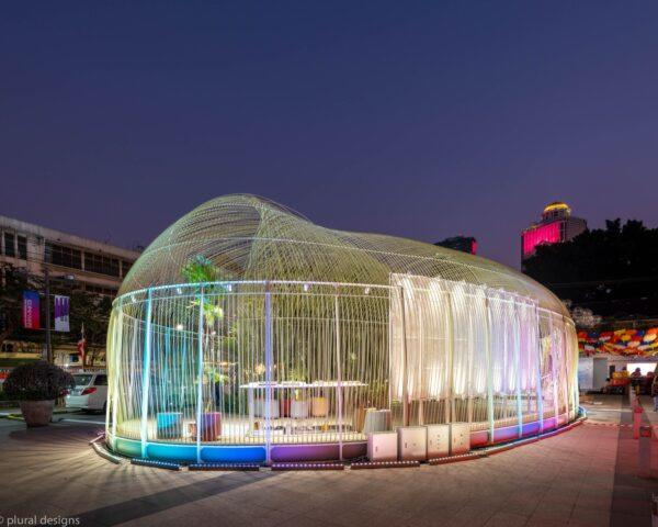 long, clear pavilion with multicolored lights