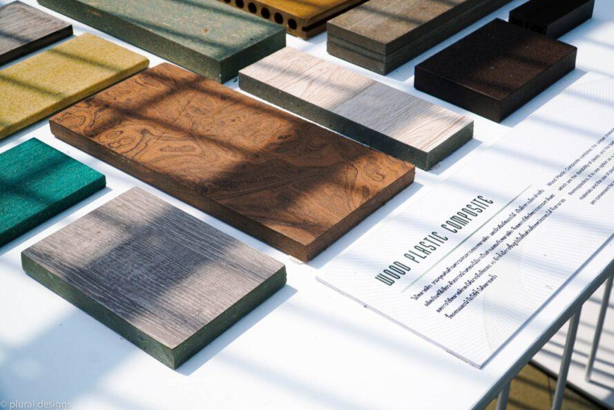 close-up of wood-plastic composite building material