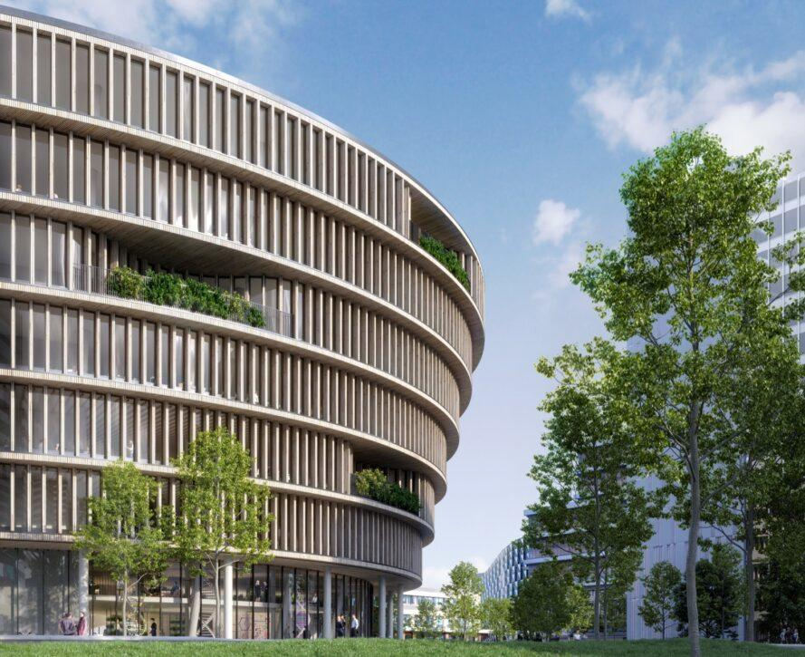 rendering of seven-story round building with pockets of trees on each floor