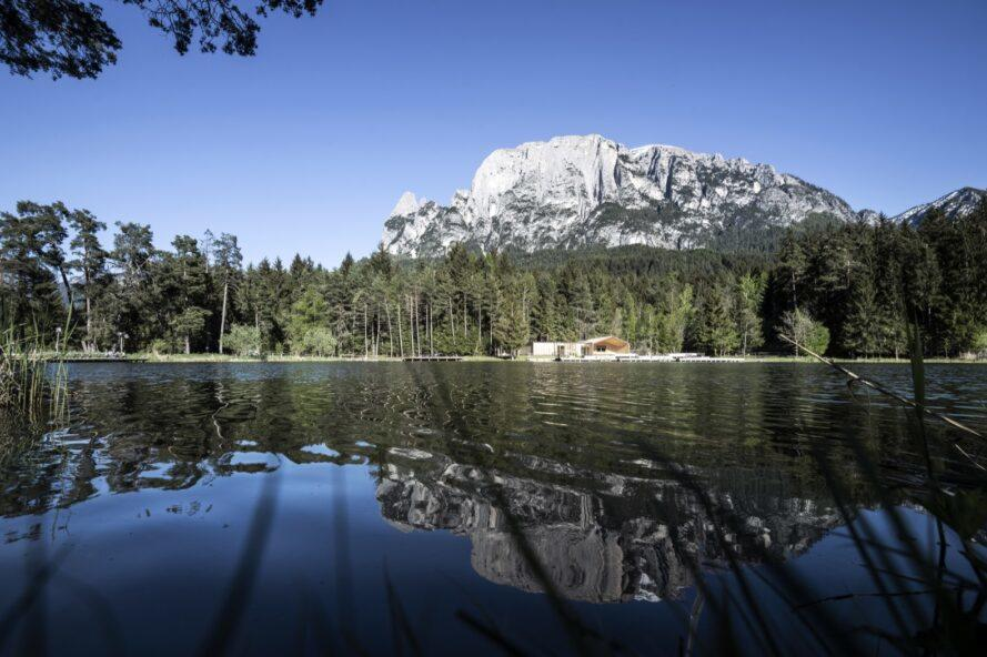a lake with forest and mountains in the background and reflected in the lake