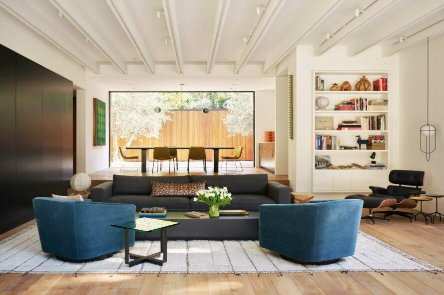 modern living room with blue chairs
