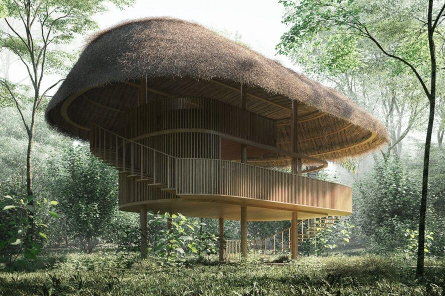 thatched roof cabin on stilts