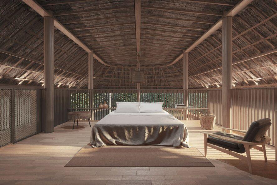 large open-air bedroom with bed in the middle